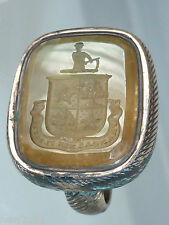 SEAL HERALDIC FAMILY CREST ANTIQUE LATIN MOTTO UNBOWED UNBROKEN HONOR COURAGE