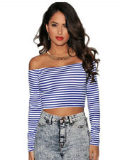 Sexy Blue & White Striped Long Sleeve Cropped Top Shirt Exotic Vegas Club Wear