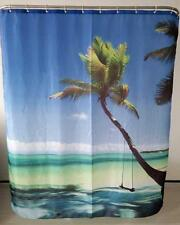 Tropical Beach Palm Tree With Swing Blue Sea Bathroom Shower Curtain Polyester