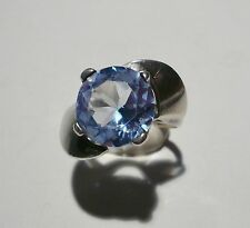 VTG MEXICAN TAXCO MODERNIST STERLING SILVER RING AQUAMARINE GEM EAGLE 3 SIZE 7