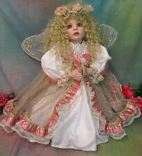 "ARTIST Donna Rubert DOLL bisque PORCELAIN 30"" Cayna ANGEL kneeling WINGS gown"