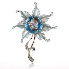 Blue Flower Graceful Leaf Crystal Rhinestone Enamel Charm Pin Brooch Bouquet