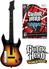 NEW Nintendo Wii Guitar Hero World Tour Wireless Guitar & Van Halen Game Bundle