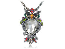 Puffed Chest Colorful Crystal Rhinestones Cute Hooting Bird Owl Pendant Necklace