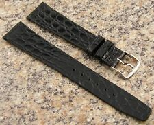 18mm BLACK Crocodile Grain Watch Band STYLECRAFT NOS Strap Made in Canada #245
