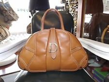 Auth Christian Dior Brown Leather Bowler Bag Purse