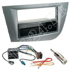 Seat Leon 2-DIN Radioblende+Ablagefach grau ISO Adapterkabel Antenne Stecker SET