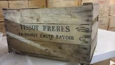 "6 x VINTAGE WOODEN ""TISSOT APPLE FRUIT CRATES RUSTIC OLD BUSHEL BOX SHABBY CHIC"