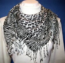 Ladies White Leopard Zebra Animal Print Pashmina Soft Shawl Scarf Stole Wrap