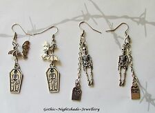 Gothic Earrings (Two sets) Skeleton & Tombstone and Bat & Coffin Halloween UK