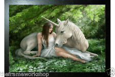 ANNE STOKES BLACK FRAMED PURE HEART UNICORN - 3D CULT FANTASY PICTURE 465x365mm