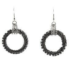 """2.25"""" Silver Hematite Chain Wrapped Ring Charmadillo Jewelry Dangle Earrings"""