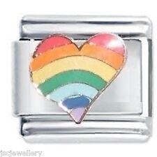 RAINBOW HEART - Daisy Charm by JSC Fits Classic Size Italian Charms Bracelet