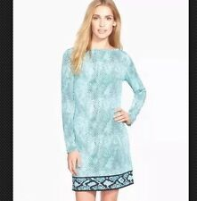 NWT MICHAEL KORS TILE BLUE Dress Snakeskin Long Sleeve Size Med. $100