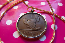 "1937 IRISH PENNY HARP COIN PENDANT on a 28"" Gold Filled Foxtail Snake Chain"