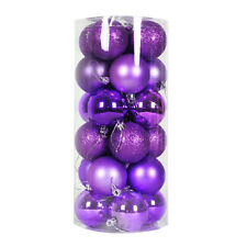 24x Round Christmas Balls Baubles Xmas Tree Decorations Purple