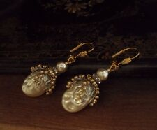 Vintage Baroque Pearl, Seed Beads Drop Pierced Earrings. Miriam Haskell Style