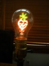 VINTAGE LIGHT BULB W/FLOWER & LOVE LIGHTING UP-IN ORG BOX-WORKS-VALENTINE!