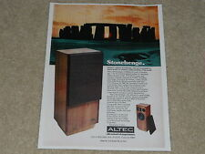 Altec Lansing Stonehenge 1972 Speaker Ad, 1 page, Article, Info