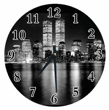 Personalized Clock Any Name TWIN TOWER City Lights Living Room Decor Great Gift