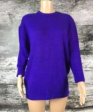 PERUVIAN CONNECTION 100% Alpaca thick knit handmade Bolivia Sweater Purple L