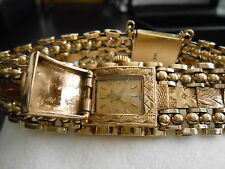 Ladies 14K Yellow Gold Handmade Bucherer Wrist Watch Movement by Delbana Watch