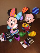 Disney Romero Britto Mickey Mouse / Minnie Mouse Figurine Set RARE!!!!! Signed