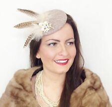 NUDE BEIGE PEARL PHEASANT FEATHER VINTAGE LACE HAT FASCINATOR WEDDING RACES 1940