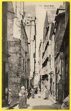 cpa Bretagne 35 - SAINT MALO (Ille et Vilaine) La Rue du BOYER Animé Superbe