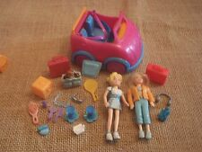 Polly Pocket Lot of Two Dolls Pink Smart Car Vehicle Accessories C66
