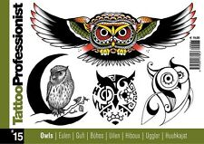 TB315 Tattoo Professionist 15 OWLS Designs BOOK FLASH LINE DRAWINGS