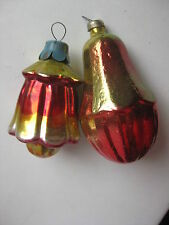 old Christmas Tree Glass Russian  ornament 2 Flowers