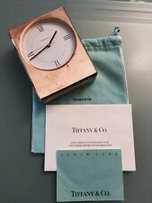 Tiffany & Co Brass Desk Mantel Clock With Box, Dust Cover And Instruction Card