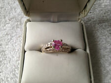 PRETTY PINK HEART CUT.75CT. SAPPHIRE RING SIZE 7.5 IN SS925 WITH WHITE CZ'S