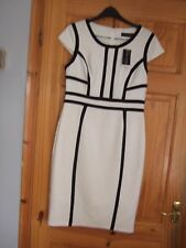 Dorothy Perkins cream black pencil wiggle dress work office occasion 12 new bnwt