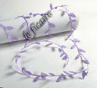 "1"" Satin Leaf Leaves Vine Ribbon Lace Trims Sew On Costume Crafts Lilac x10 yds"
