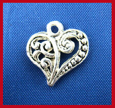 15 ANTIQUE SILVER FILIGREE HEART CHARMS 13x14mm Wine Glass Charms~Bracelets (2A)