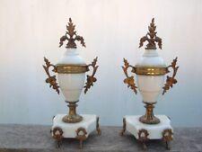 Paire de cassolettes style louis XVI marbre blanc bronze d'époque 19ème