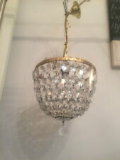 SPARKLING VINTAGE LEAD CRYSTAL BASKET CHANDELIER REWIRED