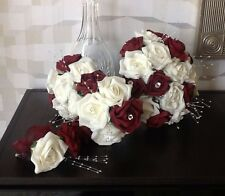 WEDDING FLOWERS BRIDES IVORY WHITE /BURGUNDY FOAM ROSE CRYSTAL  BOUQUET PACKAGE