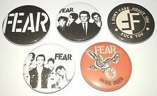 5 FEAR button badges US punk Minor Threat Dead Kennedys Conflict Crass Discharge