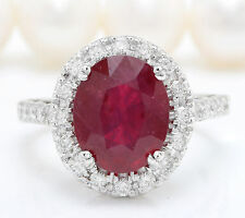 4.70CTW Natural Red Ruby and DIAMOND in 14K Solid White Gold Women Ring