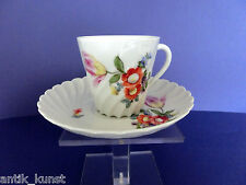 Nymphenburg Kaffeetasse Tasse Welle gerippt Blumen 1012 orange Doppelblume