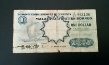 Malaya British Borneo 1959 One Dollar note banknote $1 F