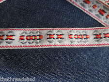 BTY Vintage Hippie Fabric Trim Retro Mod Tribal White Gray Red Yellow 1in Wide