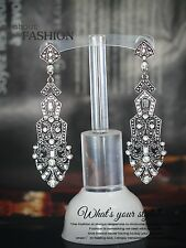 Boucles d`Oreilles Clous Argenté Pendant Long Art Deco Goutte Triangle BB 8