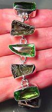 Plata 925 34gr Moldavita & Cut Cuarzo Verde Pulsera.