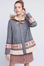 NWT ANTHROPOLOGIE Embroidered Northerner Coat Swing Faux Fur Hooded Sz L $248