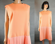70s Scooter Dress Sz XL Vintage Peach White Houndstooth Sleeveless Mod Costume
