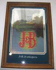 "J&B Scotch Whiskey ""It Whispers"" Framed Mirror - Rare Country Scene!"